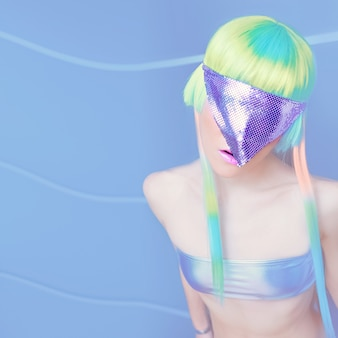 Space girl unreal party fashion style