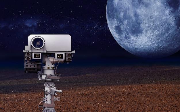 Space rover che esplora gli elementi del pianeta di questa immagine fornita dall'illustrazione della nasa d
