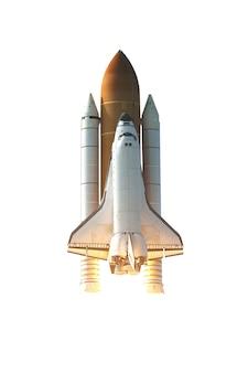 Space shuttle isolato su sfondo bianco con tracciato di ritaglio