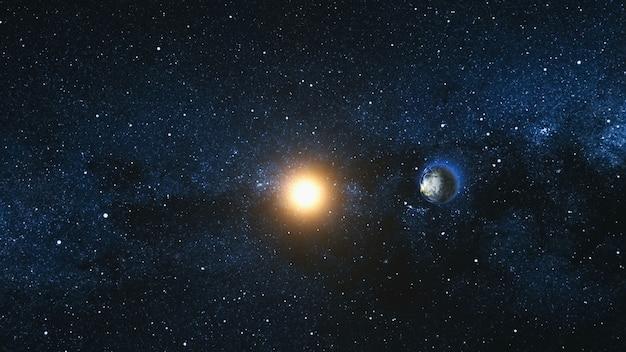 Vista dello spazio sul pianeta terra e sulla stella solare che ruotano sul proprio asse nell'universo nero. sullo sfondo la via lattea. ciclo continuo con le luci della città diurne e notturne che cambiano. elementi dell'immagine fornita dalla nasa