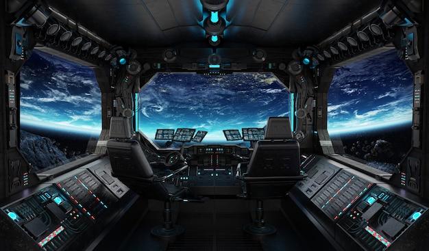 Interno di grunge astronave con vista sul pianeta terra