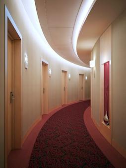 Corridoio dell'hotel luminoso e spazioso in stile moderno con molte porte che conducono alle camere. porte con serratura a scheda elettronica. rendering 3d
