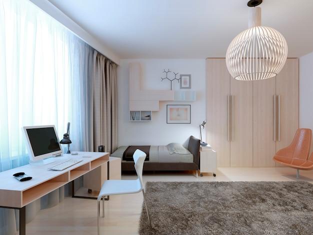 Camera da letto dal design moderno e spazioso per un adolescente con area di lavoro e guardaroba.