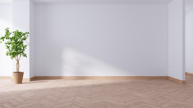 Salone spazioso e minimalis moderno, stanza vuota, pianta sul pavimento di legno, rappresentazione 3d