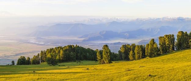Sopra una spaziosa valle di montagna nella foschia mattutina Foto Premium