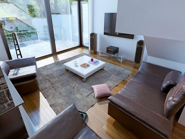 Tendenza del salotto spazioso per famiglia che trasuda comfort e calore.