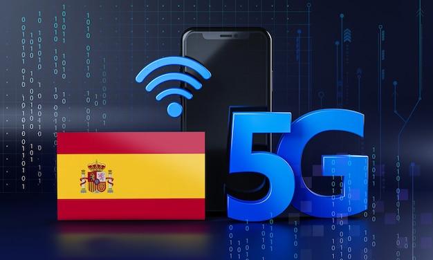 Spagna pronta per il concetto di connessione 5g. sfondo di tecnologia smartphone rendering 3d