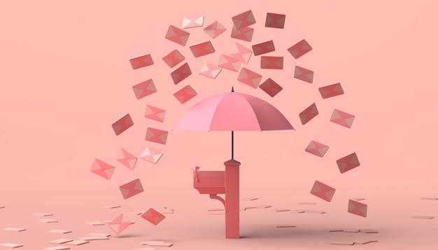 Concetto di posta indesiderata. cassetta postale con ombrello. illustrazione 3d. copia spazio.