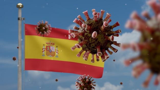 Bandiera spagnola sventolante e coronavirus 2019 ncov concep