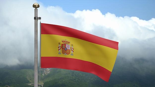 Bandiera spagnola che fluttua nel vento