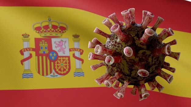 Bandiera spagnola sventola con l'epidemia di coronavirus che infetta le vie respiratorie