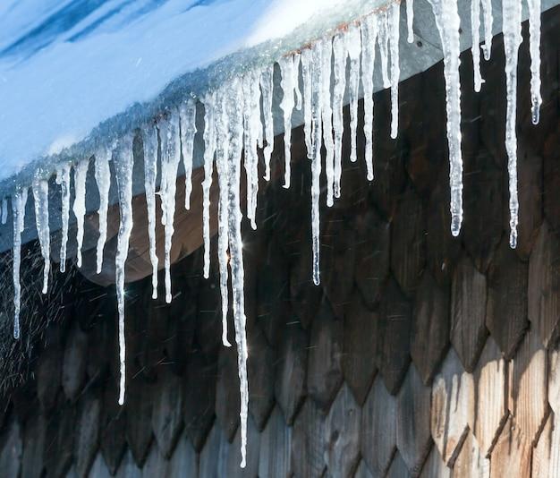 Scintillanti al sole lunghi ghiaccioli trasparenti che pendono dal tetto della casa.