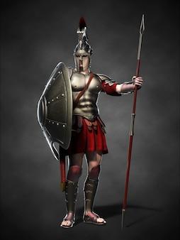 Il guerriero spartano. illustrazione 3d