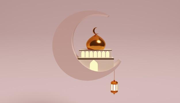 Disegno di illustrazione 3d speciale per il ramadan e l'eid