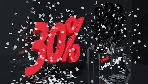Sconti speciali per la festa del black friday. vendite e acquisti. rendering 3d.