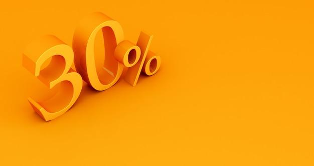 Offerta speciale 30% di sconto tag, vendita fino al 30 percento di sconto, giallo trenta percento su uno sfondo colorato. rendering 3d