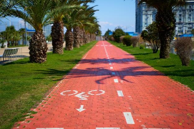 Percorso speciale per biciclette e scooter sull'argine della città di batumi.