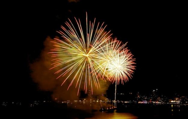 Spettacolari fuochi d'artificio che esplodono nel cielo notturno sopra la baia