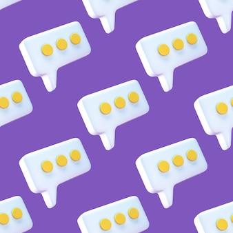 Modello senza cuciture di discorso bolla chat icona su sfondo viola.