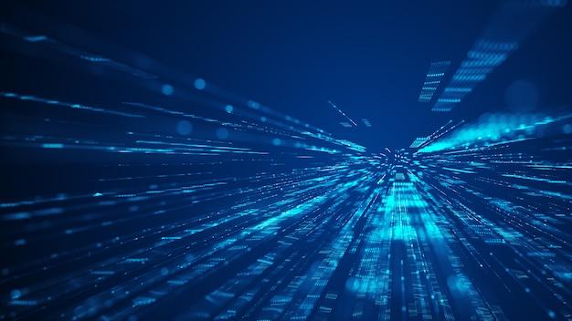 Velocità di sfondo di luci digitali. tecnologia digitale volante su sfondo scuro. fondo astratto di tecnologia futuristica con linee per rete, big data, data center, server, internet, velocità.