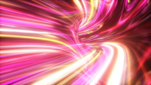 La velocità delle luci digitali, i fasci di neon che si muovono attraverso i tunnel della tecnologia digitale. concetto di spazio tempo.