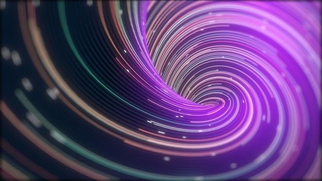 Velocità delle luci digitali, raggi luminosi al neon. fondo astratto di tecnologia futuristica con linee per rete, big data, data center, server, internet, velocità. rendering 3d