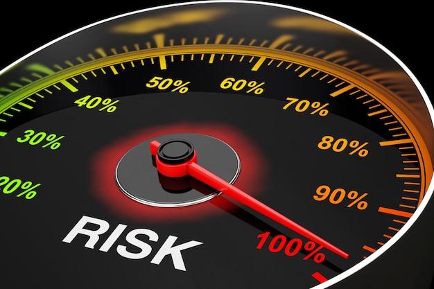 Tachimetro come primo piano estremo del misuratore di livello di rischio. rendering 3d