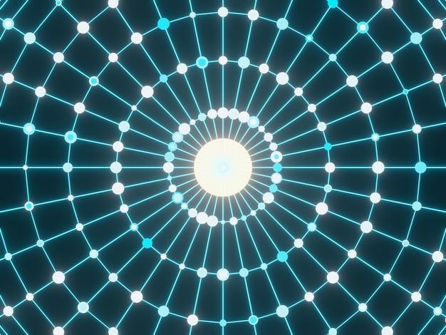 Particelle della griglia della sfera. priorità bassa astratta di scienza.