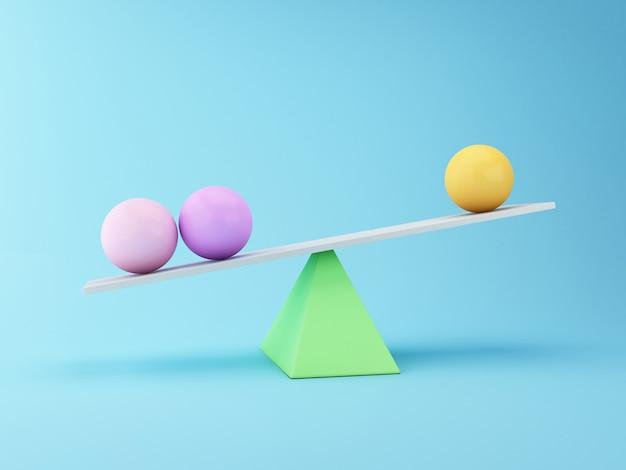 Sfere 3d che equilibrano su un'altalena. concetto di business