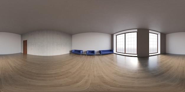Panorama sferico di proiezione panoramica a 360 gradi in una stanza vuota interna in un moderno edificio per uffici