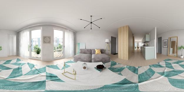 Proiezione panoramica sferica a 360 gradi interior design in stile scandinavo rendering 3d