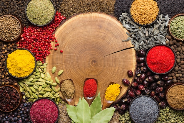 Sfondo di spezie ed erbe aromatiche con spazio vuoto per testo o etichetta. condimenti colorati, vista dall'alto.
