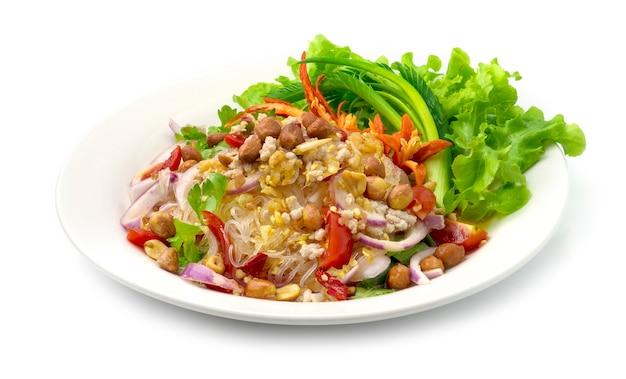 Insalata piccante vermicelli tagliatelle con carne di maiale macinata, verdura, spolverata di arachidi piccante piccante gustoso cibo tailandese stile fusion