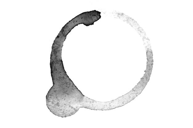 Caffè rovesciato isolato su uno sfondo bianco. pista rotonda