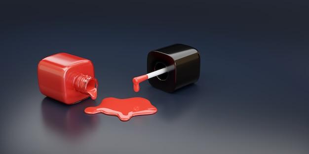 Bottiglia di smalto rosso rovesciata su sfondo scuro.
