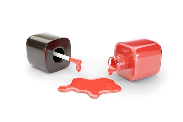 Bottiglia di smalto rosso rovesciata isolata su priorità bassa bianca.