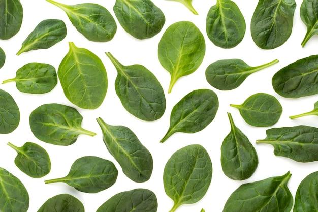 Priorità bassa del reticolo di spinaci su bianco. vista dall'alto