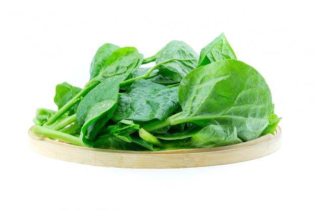 Verdure degli spinaci isolate su fondo bianco
