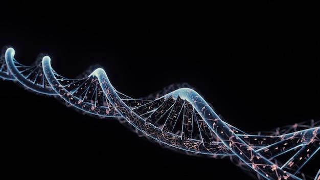 Dna a forma di spirale con dati di circuiti digitali luminosi