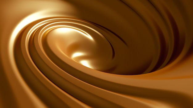 Caramello spruzzato a spirale. illustrazione 3d, rendering 3d.