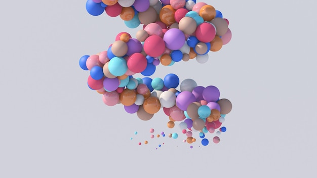 Spirale con palline colorate. illustrazione astratta, rendering 3d.