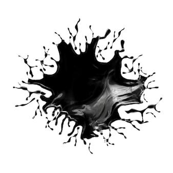 Spruzzata di liquido nero. rendering 3d.