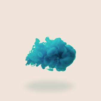 Spruzzata di vernice acrilica blu o inchiostro in acqua su sfondo chiaro