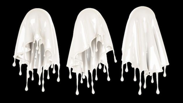 Spruzzata di liquido bianco denso su sfondo nero. rendering 3d.