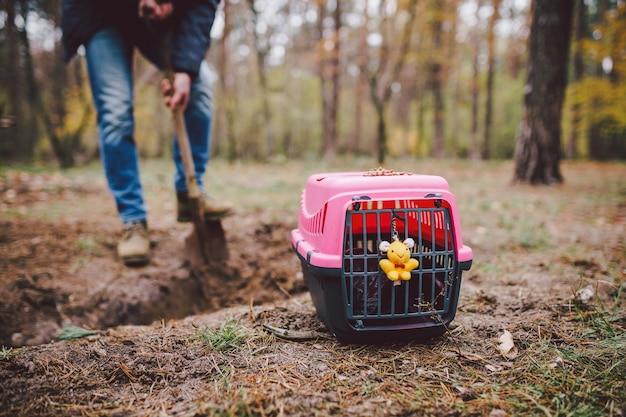 Scena spettrale al cimitero degli animali domestici. la tomba degli amici animali perduti. compagnia, addio. un uomo porta un animale domestico morto in un trasportino nella foresta e scava una fossa con una pala. perdita di un animale domestico.