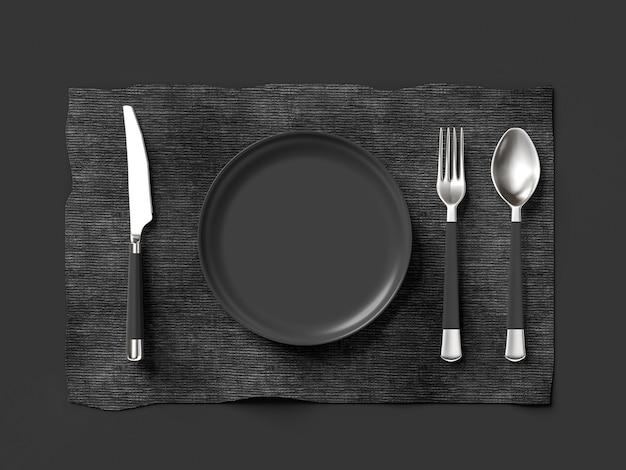 Cucchiaio con forchetta con coltello e piatto di colore grigio
