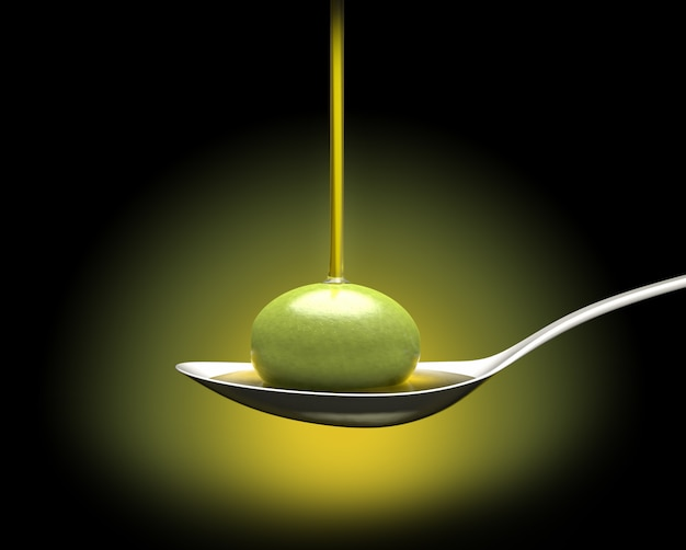 Un cucchiaio con un'oliva sotto una caduta d'olio