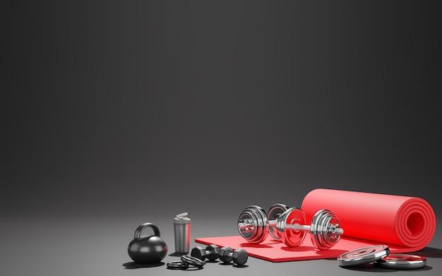 Attrezzature per il fitness sportivo, tappetino yoga rosso, kettlebell, bottiglia d'acqua, manubri