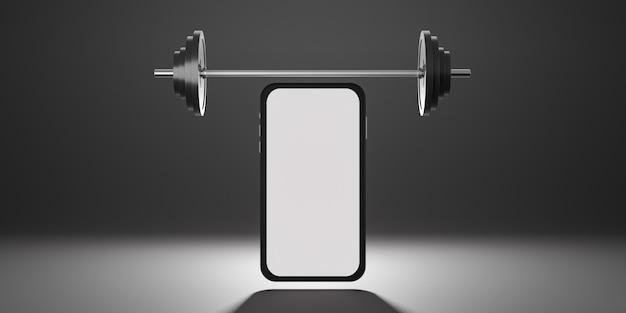 Attrezzature per il fitness sportivo: mockup mobile con schermo bianco, bilanciere a piastre