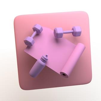 Icona dello sport con pesi e tappetino da palestra isolato su priorità bassa bianca. app. illustrazione 3d.